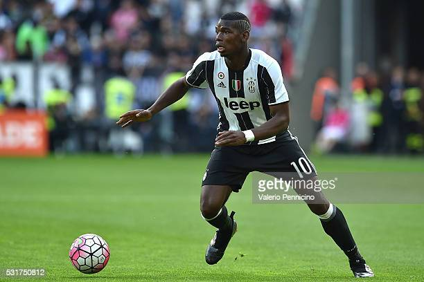 Paul Pogba of Juventus FC in action during the Serie A match between Juventus FC and UC Sampdoria at Juventus Arena on May 14 2016 in Turin Italy