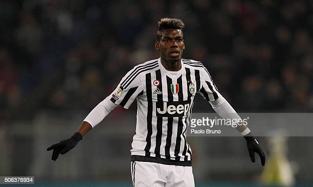 Paul Pogba of Juventus FC in action during the TIM Cup match between SS Lazio and Juventus FC at Stadio Olimpico on January 20 2015 in Rome Italy