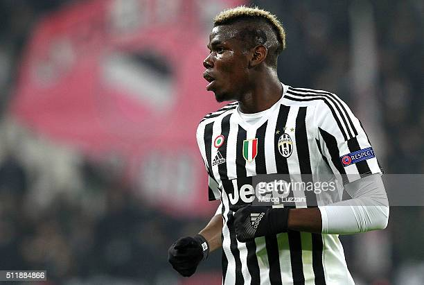 Paul Pogba of Juventus FC looks on during the UEFA Champions League Round of 16 first leg match between Juventus and FC Bayern Muenchen at Juventus...