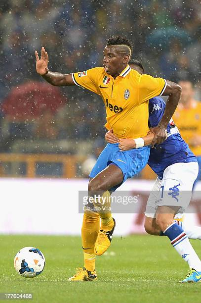 Paul Pogba of Juventus in action during the Serie A match between UC Sampdoria and Juventus at Stadio Luigi Ferraris on August 24 2013 in Genoa Italy