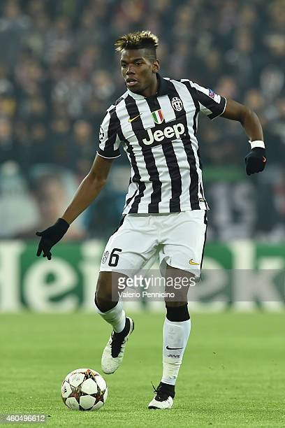 Paul Pogba of Juventus in action during the UEFA Champions League group A match between Juventus and Club Atletico de Madrid at Juventus Arena on...