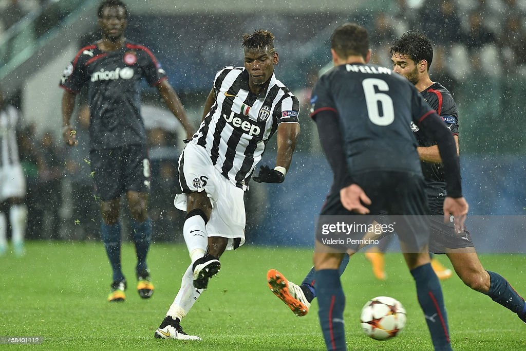 Paul Pogba of Juventus scores their third goal during the UEFA Champions League group A match between Juventus and Olympiacos FC at Juventus Arena on November 4, 2014 in Turin, Italy.