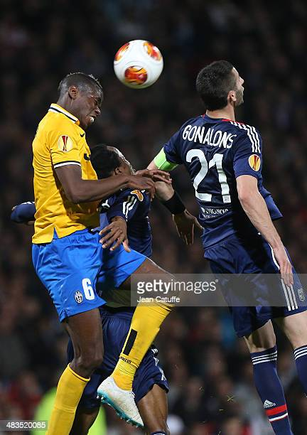 Paul Pogba of Juventus Turin and Maxime Gonalons of Lyon in action during the UEFA Europa League quarter final match between Olympique Lyonnais OL...