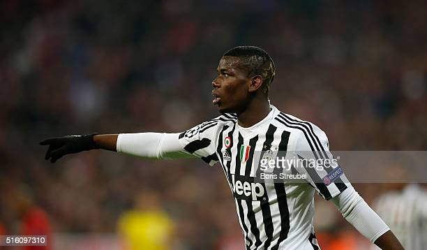 Paul Pogba of Juventus Turin gestures the UEFA Champions League round of 16 second leg match between FC Bayern Muenchen and Juventus Turin at Allianz...