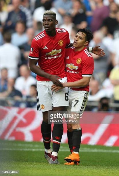 Paul Pogba of Man Utd and Alexis Sanchez of Man Utd celebrate during the FA Cup semi final between Manchester United and Tottenham Hotspur at Wembley...