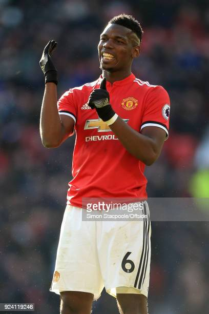 Paul Pogba of Man Utd gestures during the Premier League match between Manchester United and Chelsea at Old Trafford on February 25 2018 in...