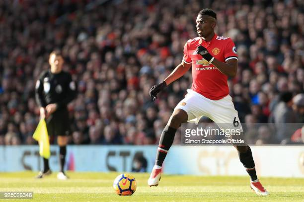 Paul Pogba of Man Utd in action during the Premier League match between Manchester United and Chelsea at Old Trafford on February 25 2018 in...
