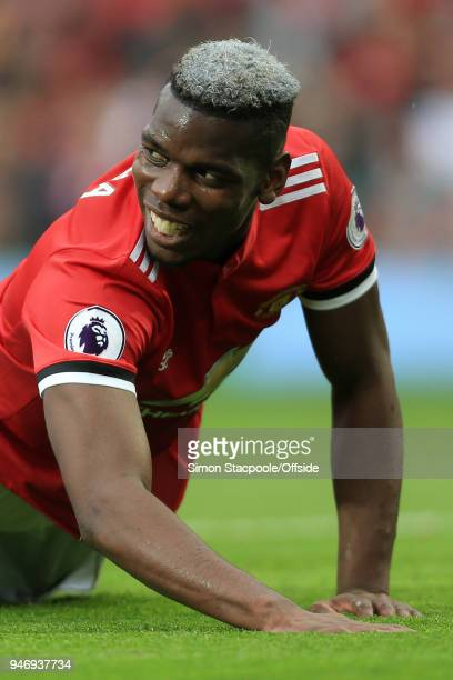 Paul Pogba of Man Utd lies on the floor during the Premier League match between Manchester United and West Bromwich Albion at Old Trafford on April...