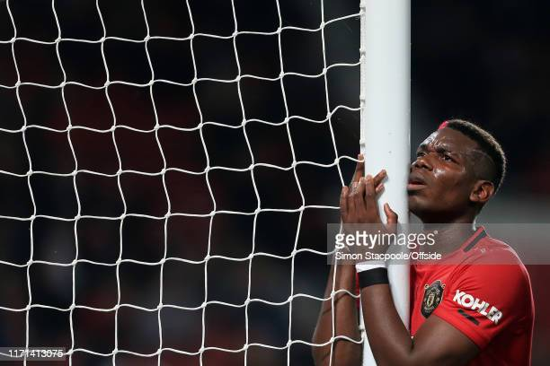 Paul Pogba of Man Utd looks dejected during the Carabao Cup Third Round match between Manchester United and Rochdale AFC at Old Trafford on September...