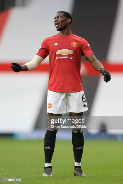 Paul Pogba of Man Utd looks dejected during the Premier League match between Manchester United and Tottenham Hotspur at Old Trafford on October 4,...