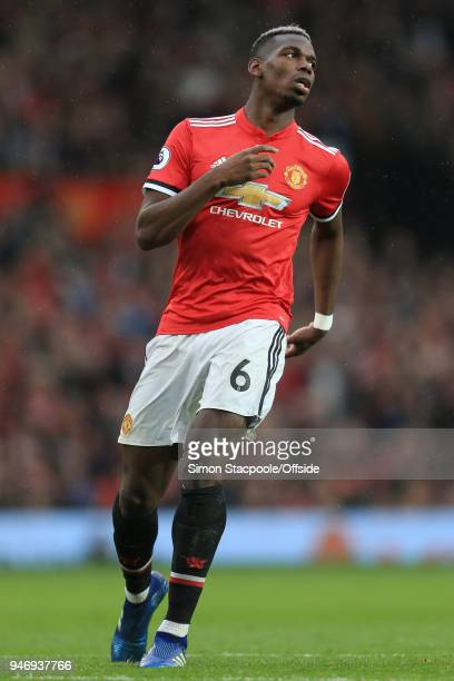 Paul Pogba of Man Utd looks dejected during the Premier League match between Manchester United and West Bromwich Albion at Old Trafford on April 15...