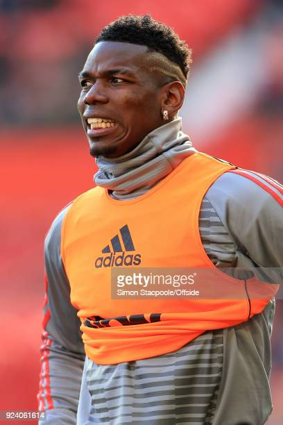 Paul Pogba of Man Utd looks on during the warmup before the Premier League match between Manchester United and Chelsea at Old Trafford on February 25...