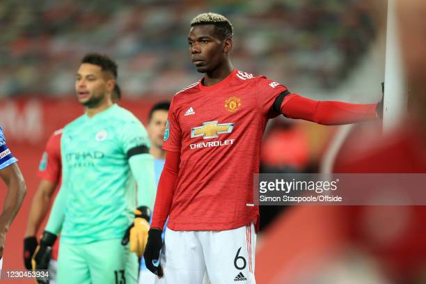 Paul Pogba of Man Utd looks uninterested during the Carabao Cup Semi Final match between Manchester United and Manchester City at Old Trafford on...