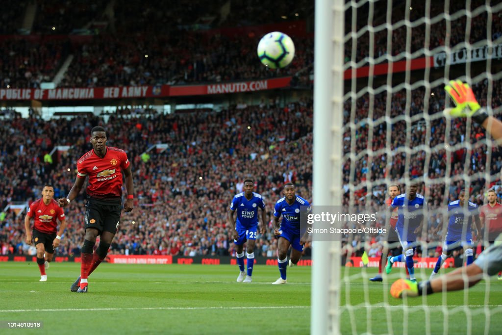 Paul Pogba of Man Utd scores their 1st goal with a penalty during the Premier League match between Manchester United and Leicester City at Old Trafford on August 10, 2018 in Manchester, England.
