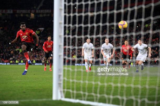 Paul Pogba of Man Utd scores their 1st goal with a penalty during the Premier League match between Manchester United and Burnley at Old Trafford on...