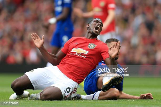Paul Pogba of Man Utd screams after being tackled by Mateo Kovacic of Chelsea during the Premier League match between Manchester United and Chelsea...