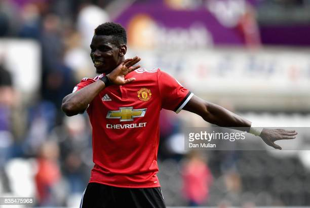 Paul Pogba of Mancheser United celebrates victory after the Premier League match between Swansea City and Manchester United at Liberty Stadium on...