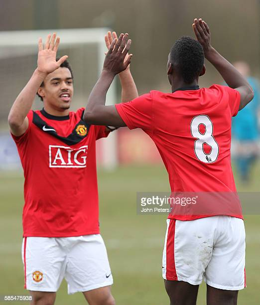 Paul Pogba of Manchester United Academy celebrates scoring during the Premier Academy League Under18 match between Manchester United and Newcastle...