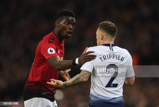 Paul Pogba of Manchester United and Kieran Trippier of Tottenham Hotspur argue during the Premier League match between Tottenham Hotspur and...