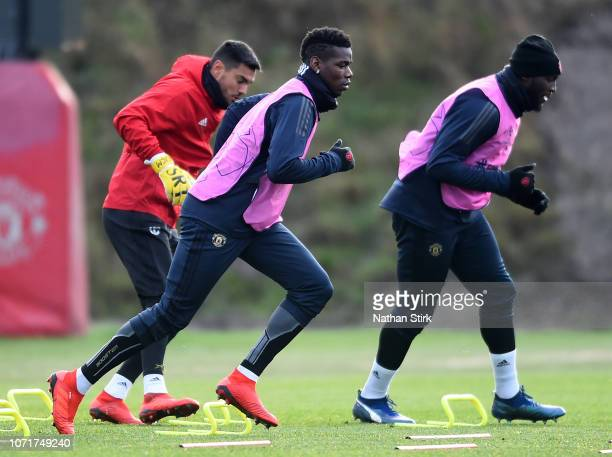 Paul Pogba of Manchester United and Romelu Lukaku of Manchester United in action during a training session ahead of their UEFA Champions League Group...