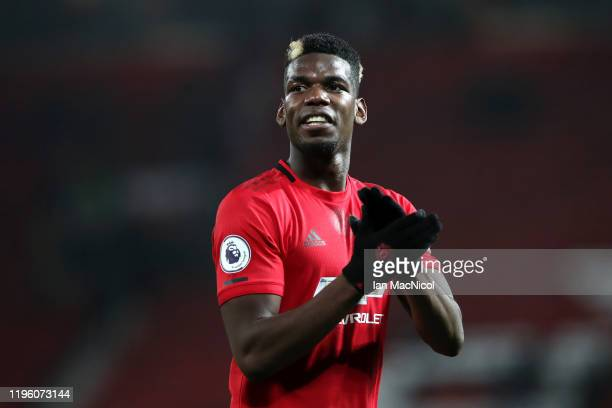 Paul Pogba of Manchester United applauds fans after the Premier League match between Manchester United and Newcastle United at Old Trafford on...