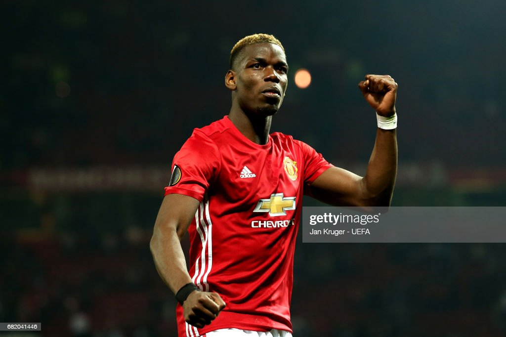 Paul Pogba of Manchester United applauds fans following the UEFA Europa League, semi final second leg match, between Manchester United and Celta Vigo at Old Trafford on May 11, 2017 in Manchester, United Kingdom.