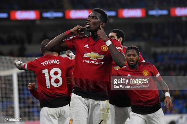 Paul Pogba of Manchester United celebrates after his team's fifth goal during the Premier League match between Cardiff City and Manchester United at...