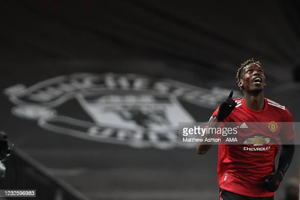 Paul Pogba of Manchester United celebrates after scoring a goal to make it 5-2 during the UEFA Europa League Semi-final First Leg match between...