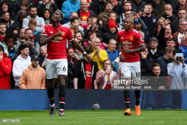 Paul Pogba of Manchester United celebrates after scoring a goal to make it 10 during the Premier League match between Manchester United and Arsenal...