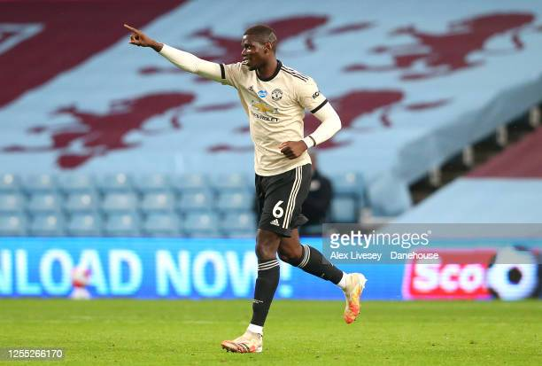 Paul Pogba of Manchester United celebrates after scoring their third goal during the Premier League match between Aston Villa and Manchester United...