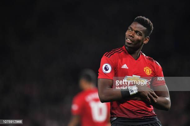 Paul Pogba of Manchester United celebrates as he scores his team's first goal during the Premier League match between Manchester United and AFC...