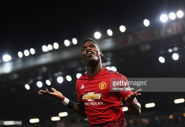 Paul Pogba of Manchester United celebrates as he scores his team's second goal during the Premier League match between Manchester United and AFC...
