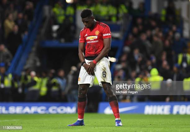 Paul Pogba of Manchester United celebrates as he scores his team's second goal during the FA Cup Fifth Round match between Chelsea and Manchester...