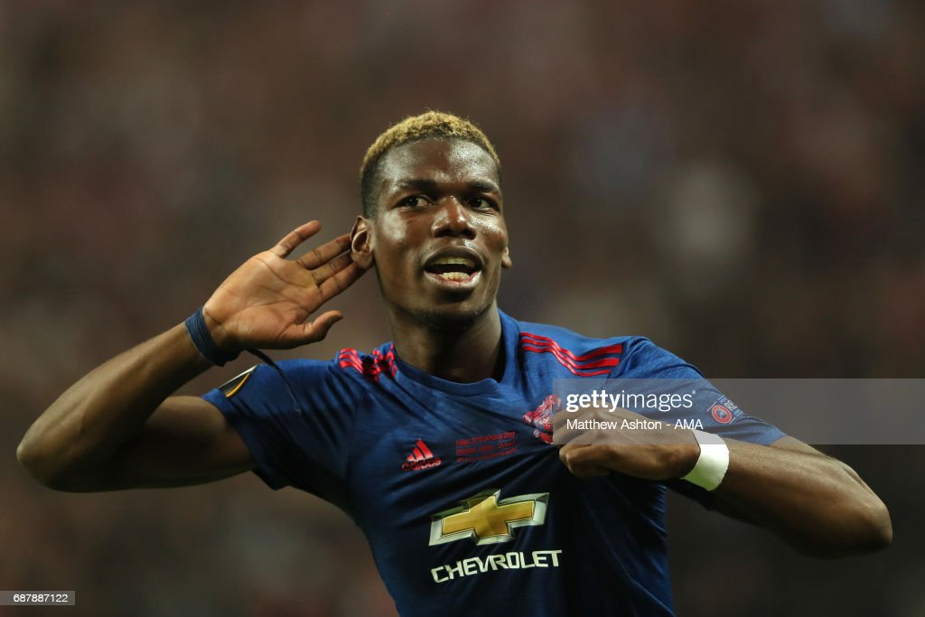 Paul Pogba of Manchester United celebrates at the end of the UEFA Europa League Final between Ajax and Manchester United at Friends Arena on May 24, 2017 in Stockholm, Sweden.