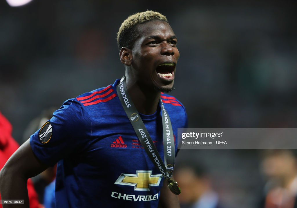 Paul Pogba of Manchester United celebrates following the UEFA Europa League Final between Ajax and Manchester United at Friends Arena on May 24, 2017 in Stockholm, Sweden.