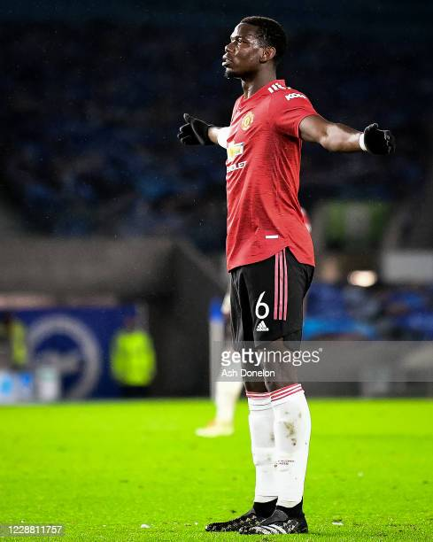 Paul Pogba of Manchester United celebrates scoring a goal to make the score 0-3 during the Carabao Cup fourth round match between Brighton and Hove...