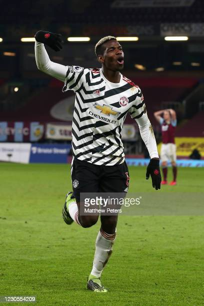 Paul Pogba of Manchester United celebrates scoring a goal to make the score 0-1 during the Premier League match between Burnley and Manchester United...