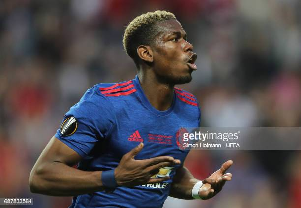 Paul Pogba of Manchester United celebrates scoring his sides first goal during the UEFA Europa League Final between Ajax and Manchester United at...
