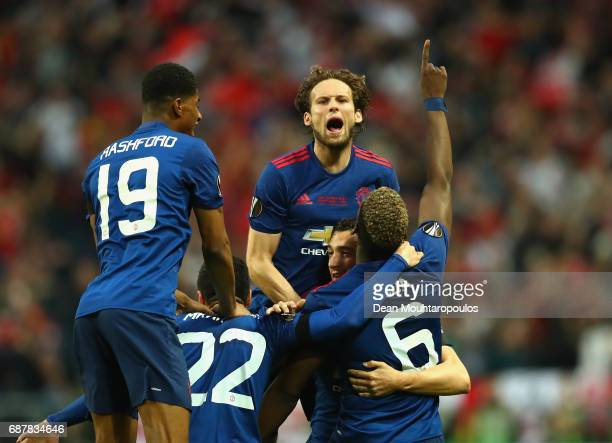 Paul Pogba of Manchester United celebrates scoring his sides first goal with his Manchester United team mates during the UEFA Europa League Final...