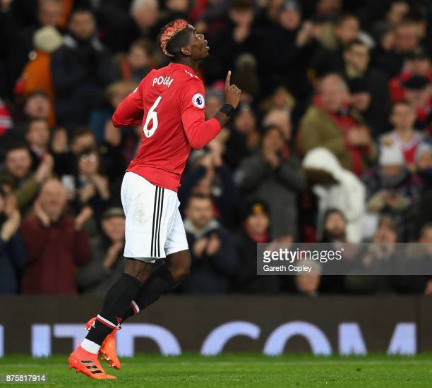 Paul Pogba of Manchester United celebrates scoring his sides third goal during the Premier League match between Manchester United and Newcastle...