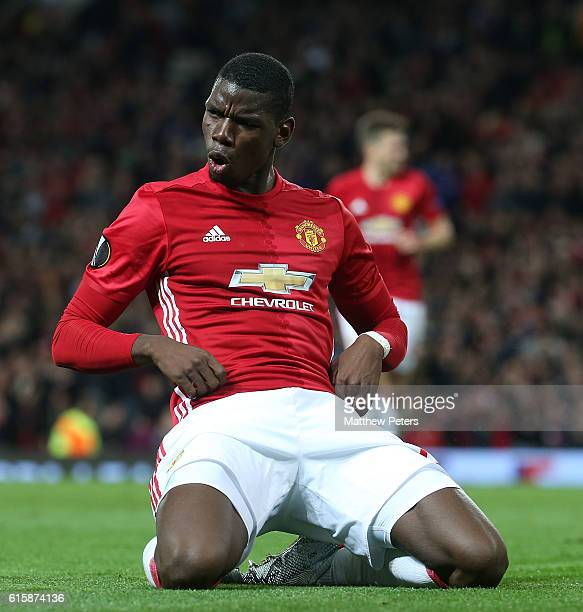 Paul Pogba of Manchester United celebrates scoring their third goal during the UEFA Europa League match between Manchester United FC and Fenerbahce...