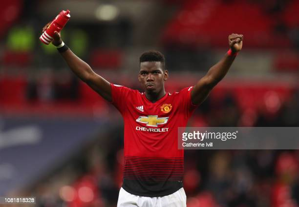 Paul Pogba of Manchester United celebrates victory after the Premier League match between Tottenham Hotspur and Manchester United at Wembley Stadium...