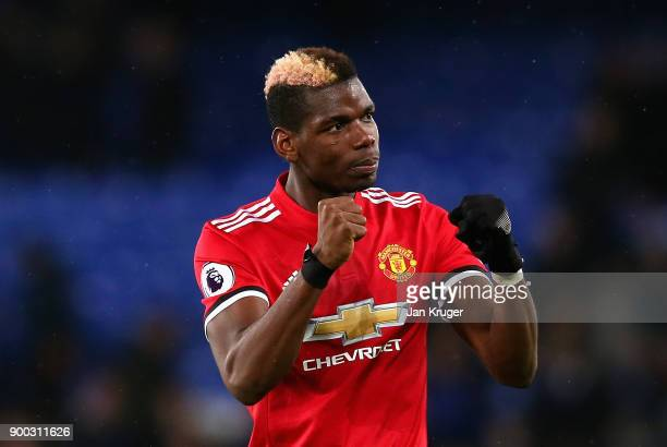 Paul Pogba of Manchester United celebrates victory during the Premier League match between Everton and Manchester United at Goodison Park on January...