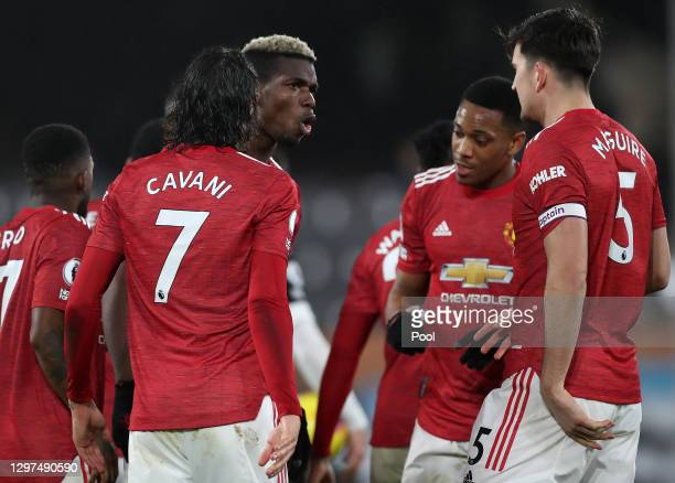 Paul Pogba of Manchester United celebrates with team mates Edinson Cavani, Anthony Martial and Harry Maguire after scoring their side's second goal...