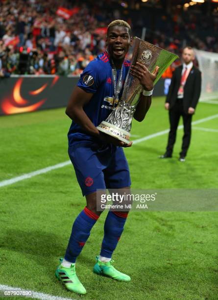 Paul Pogba of Manchester United celebrates with the trophy during the UEFA Europa League Final match between Ajax and Manchester United at Friends...