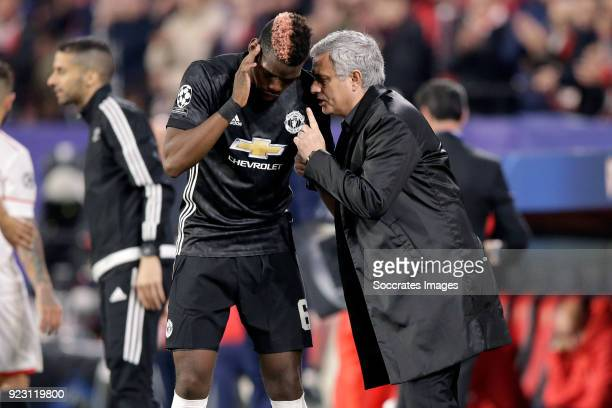 Paul Pogba of Manchester United coach Jose Mourinho of Manchester United during the UEFA Champions League match between Sevilla v Manchester United...