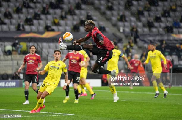 Paul Pogba of Manchester United controls the ball during the UEFA Europa League Final between Villarreal CF and Manchester United at Gdansk Arena on...