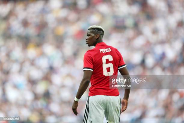 Paul Pogba of Manchester United during The Emirates FA Cup Semi Final between Manchester United and Tottenham Hotspur at Wembley Stadium on April 21...