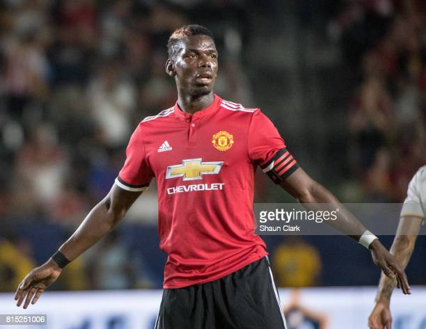 Paul Pogba of Manchester United during the Los Angeles Galaxy's friendly match against Manchester United at the StubHub Center on July 15 2017 in...
