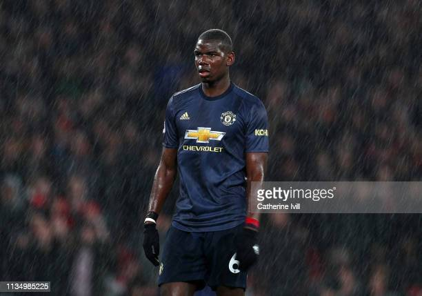 Paul Pogba of Manchester United during the Premier League match between Arsenal FC and Manchester United at Emirates Stadium on March 10 2019 in...